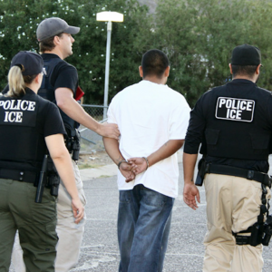 A September 2011 photo of an arrest during the second national wave of Operation Cross Check, an effort by ICE to arrest and deport undocumented immigrants with criminal records