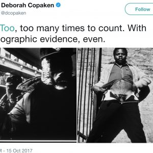 "Tweet from photographer Deborah Copaken on October 15, 2017: ""#MeToo, too many times to count. With photographic evidence, even."" (includes two photographs of men graphically harassing Copaken, taken from her 1988 master's thesis, ""Shooting Straight"")"