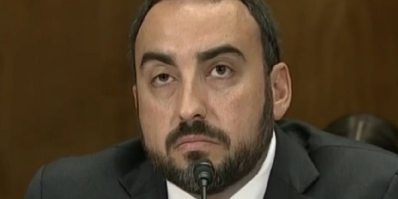 Screenshot of Facebook's chief security officer, Alex Stamos, testifying before a U.S. Senate subcommittee in May 2014. Stamos was head of security for Yahoo at the time.