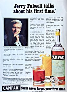 "Mock Campari ad depicting televangelist Jerry Falwell opening up about his ""first time"" (in an outhouse, with his mother)"