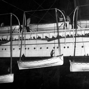 New York Times photo of Titanic lifeboats hauled aboard the Carpathia, April 18, 1912