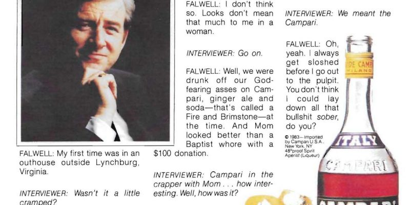 """A portion of the mock Campari ad depicting televangelist Jerry Falwell opening up about his """"first time"""" (in an outhouse, with his mother)"""