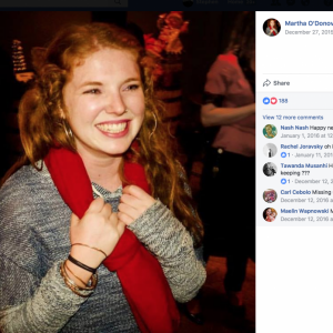 Facebook profile photo of Martha O'Donovan, 25, with a big smile, dressed in sweater, grasping a scarf around her neck