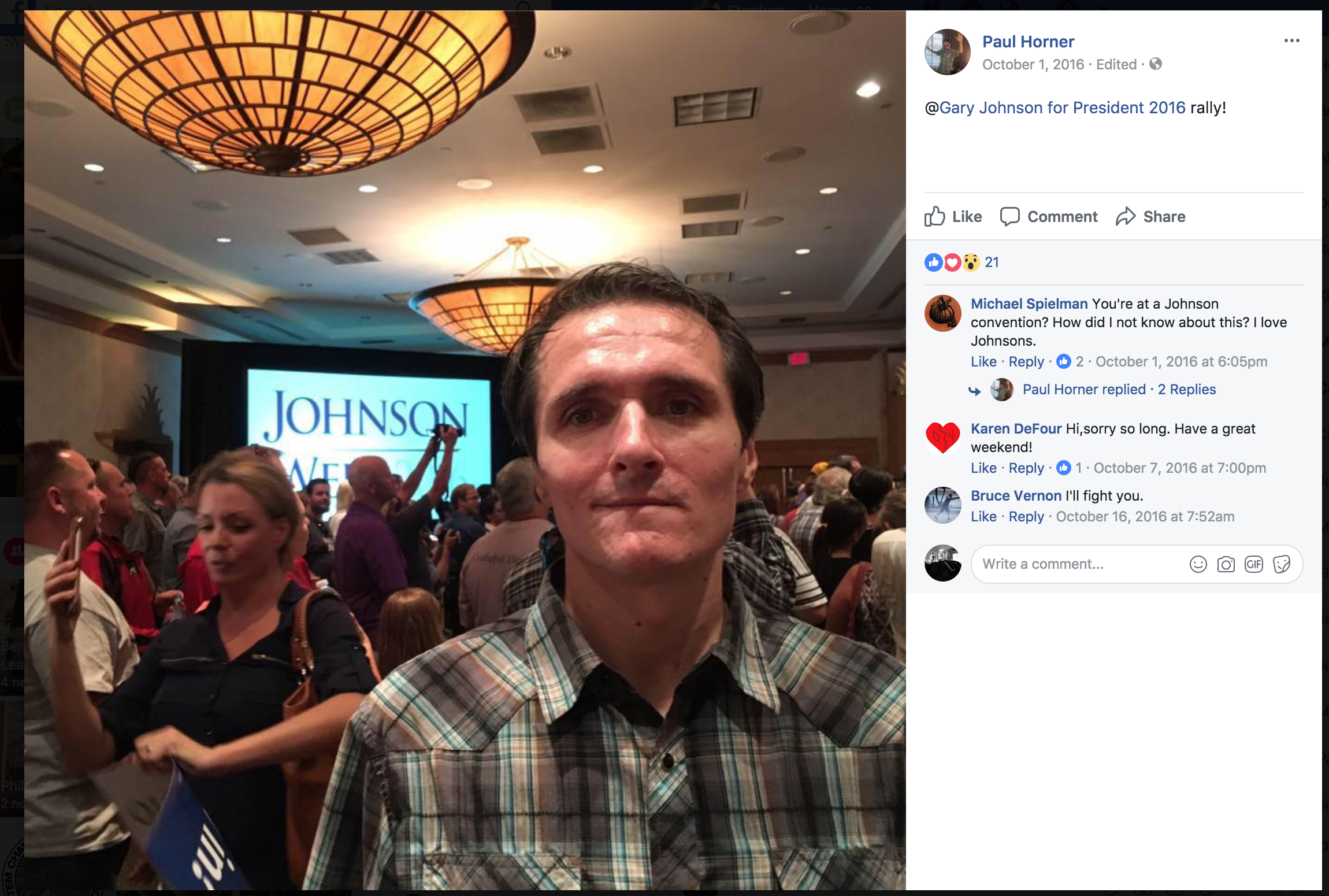 Facebook screenshot showing an unsmiling Paul Horner at a 2016 rally for Libertarian presidential candidate Gary Johnson