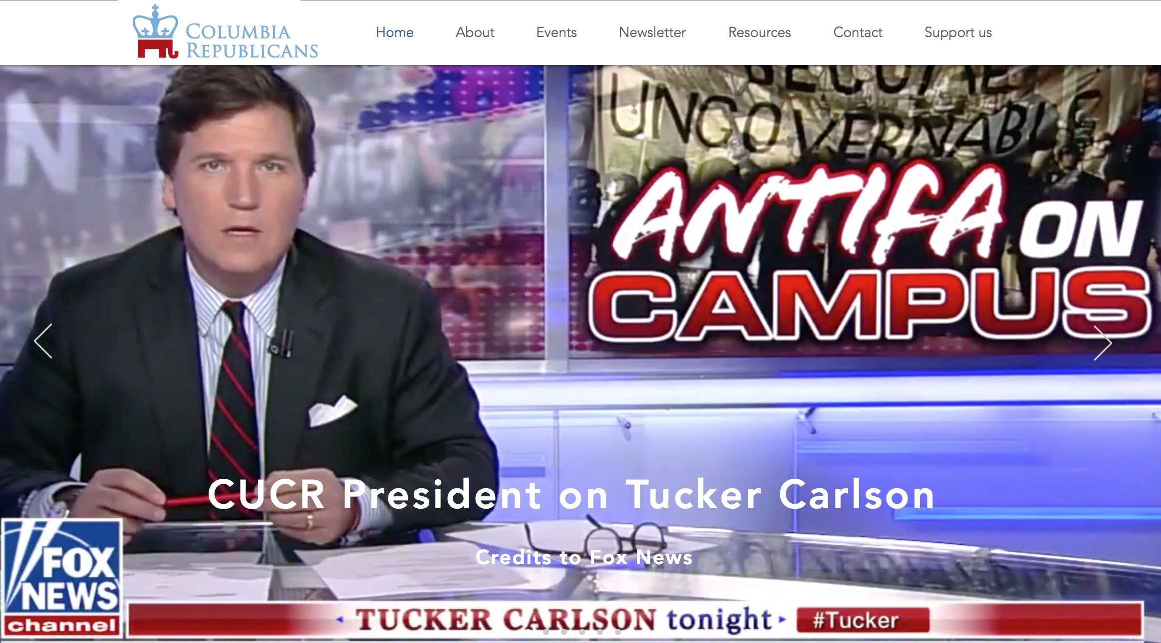 screenshot of Fox News commentator Tucker Carlson, taken from Columbia University College Republicans homepage