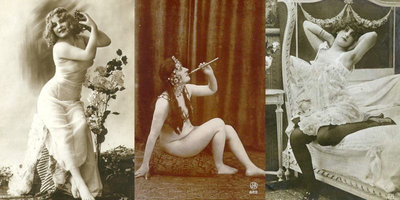 Three vintage black-and-white photos of semi-nude women in various poses, attributed to French photographer Jean Agélou (1878–1921)