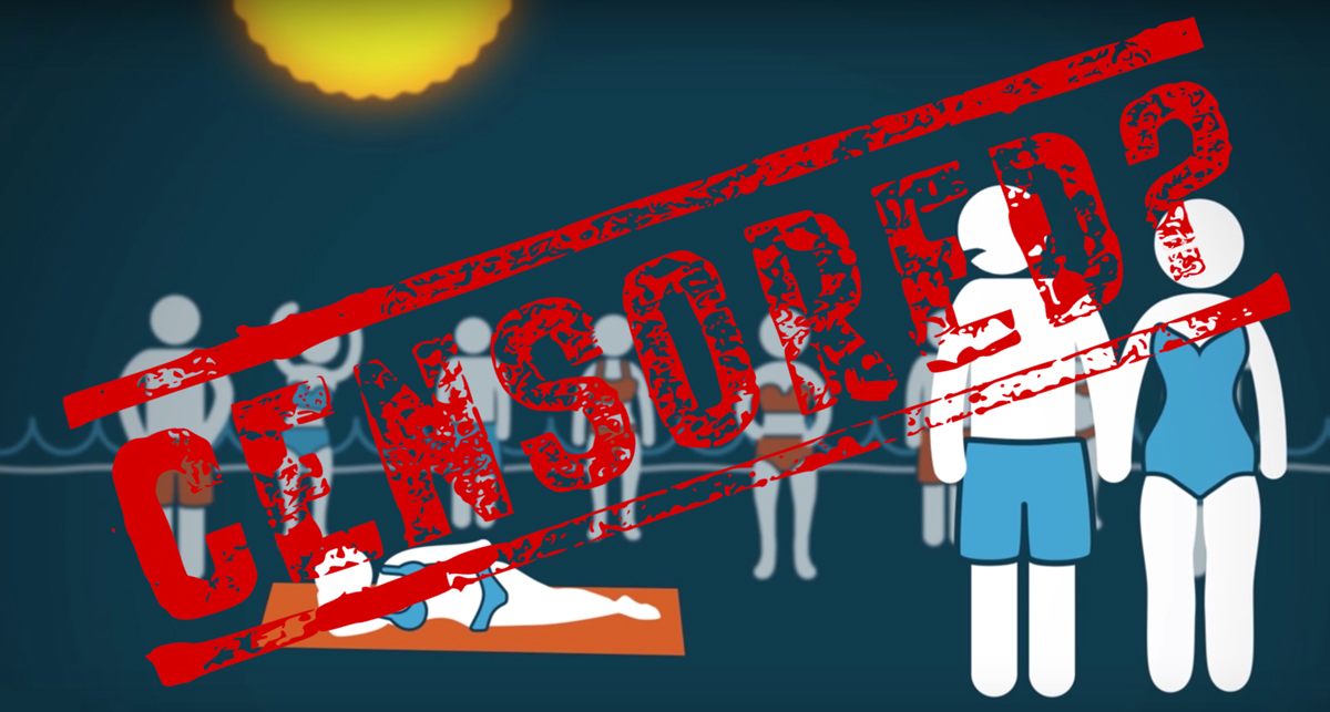 """illustration showing a screenshot from a PragerU video, overstamped with the word """"CENSORED?"""""""