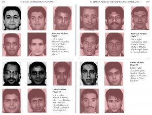 "two pages of black-and-white photos taken from the U.S. government's ""9/11 Commission Report,"" altered to shade in pink the mugshots of the 15 Saudi nationals who were among the 19 hijackers"
