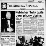 Screenshot of the front page of the Arizona Republic edition of December 27, 1985, which announced the resignation of its publisher, Duke Tully
