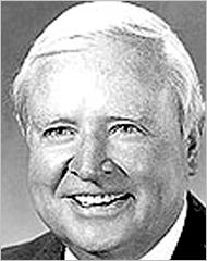Black-and-white head shot of Jim Hensley, father of Cindy McCain