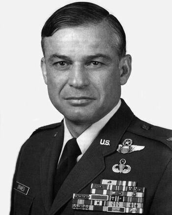Black-and-white portrait of U.S. Air Force Col. John A. Dramesi, a decorated Vietnam War veteran and former POW