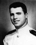 Black-and-white photo of John McCain as an officer-in-training at the U.S. Naval Academy in Annapolis, Maryland