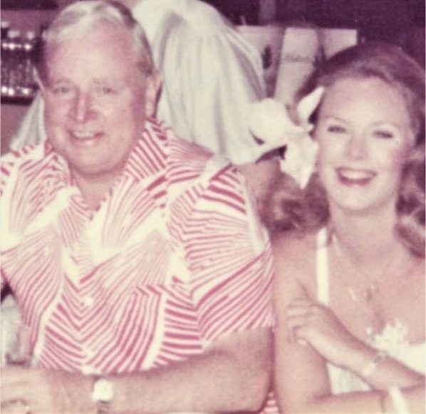 Color snapshot of Cindy Hensley (McCain) with her father, Jim Hensley, in Hawaii in 1977. From Cindy McCain's Instagram account.
