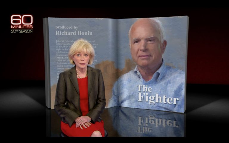 "screenshot of a 60 Minutes segment entitled ""The Fighter,"" about Sen. John McCain's battle against brain cancer, reported by Lesley Stahl"