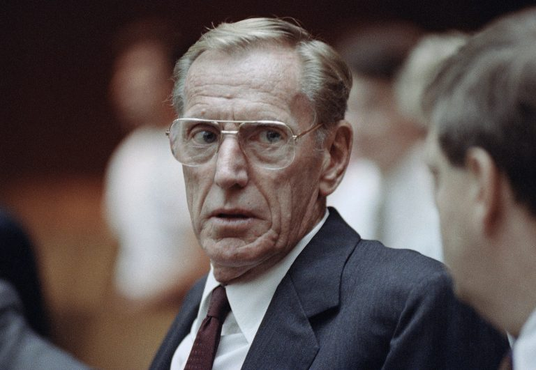 Associated Press color photo of Charles H. Keating, Jr., in a Los Angeles courtroom on June 7, 1991, as his attorneys urged a judge to dismiss all charges against him and his co-defendants. The attorneys argued that Keating can''t be held liable for junk-bond sales made by employees.