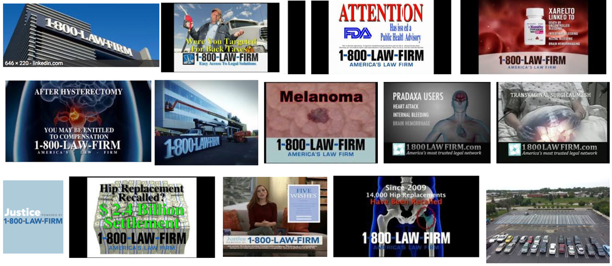 a collage of screenshots and other images related to 1-800-LAW-FIRM