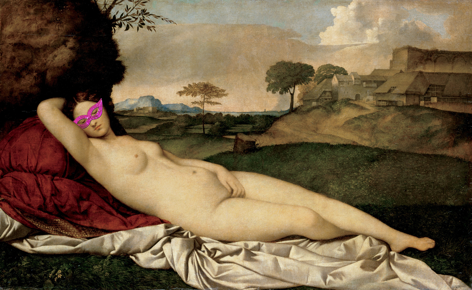 photo of Giorgione's Sleeping Venus (1508-10) reclining nude, with a pink masquerade mask photoshopped over the face
