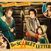 Lobby card for the 1934 film The Scarlet Letter starring Henry B. Walthall, Colleen Moore, Hardie Albright, and Cora Sue Collins
