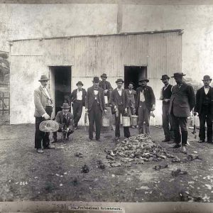 Black-and-white photo, circa 1900, showing a group of men standing around a mound of dead rats