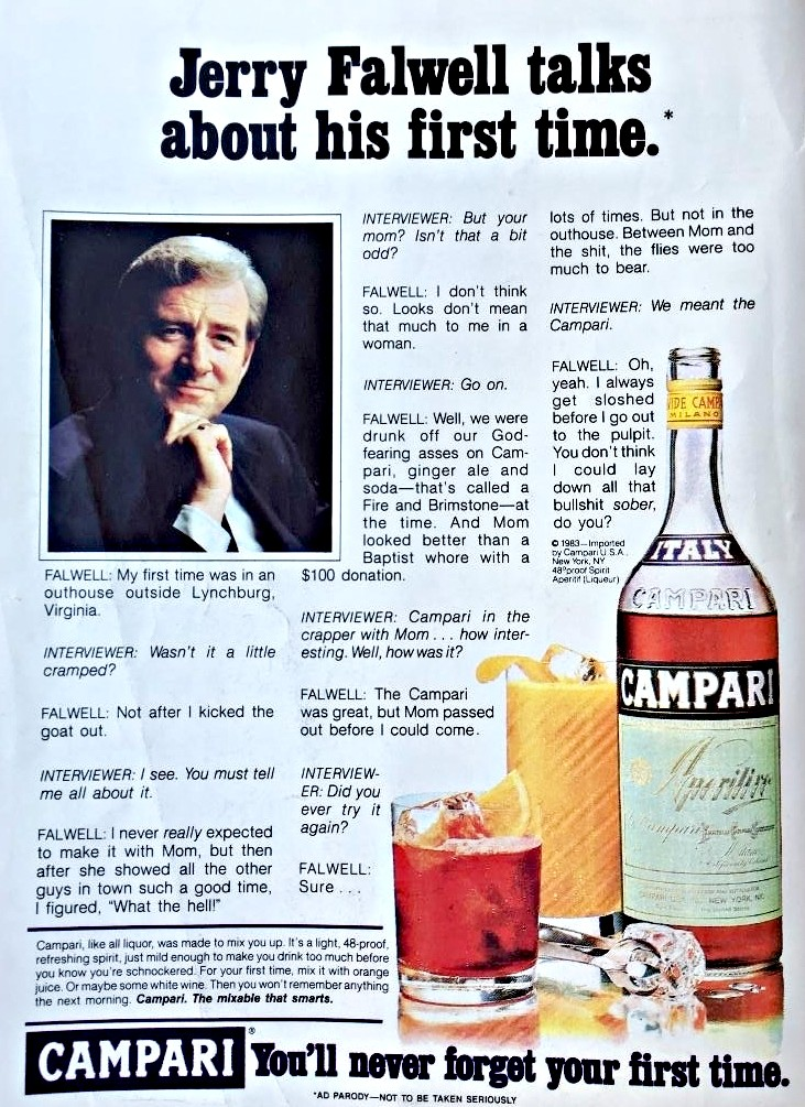 """Mock Campari ad depicting televangelist Jerry Falwell opening up about his """"first time"""" (in an outhouse, with his mother)"""