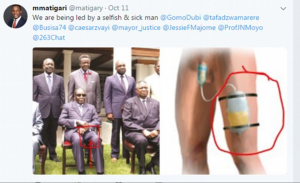 Tweet showing Robert Mugabe seated with other dignitaries and an illustration of a catheter, implying that Mugabe wears one.