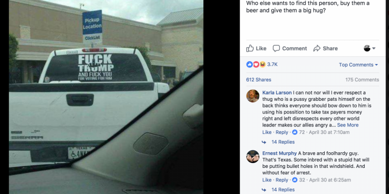 "photo of the back of a white pickup truck -- likely the same one belonging to a Houston-area resident who prominently affixed a decal to the back-facing window that reads, ""Fuck Trump and Fuck You for Voting for Him,"" thus drawing the ire of Fort Bend County Sheriff Troy E. Nehls"