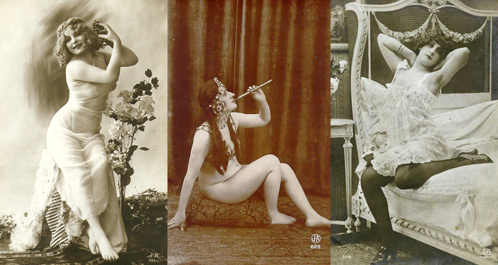 Three vintage black and white photos of semi nude women in various poses