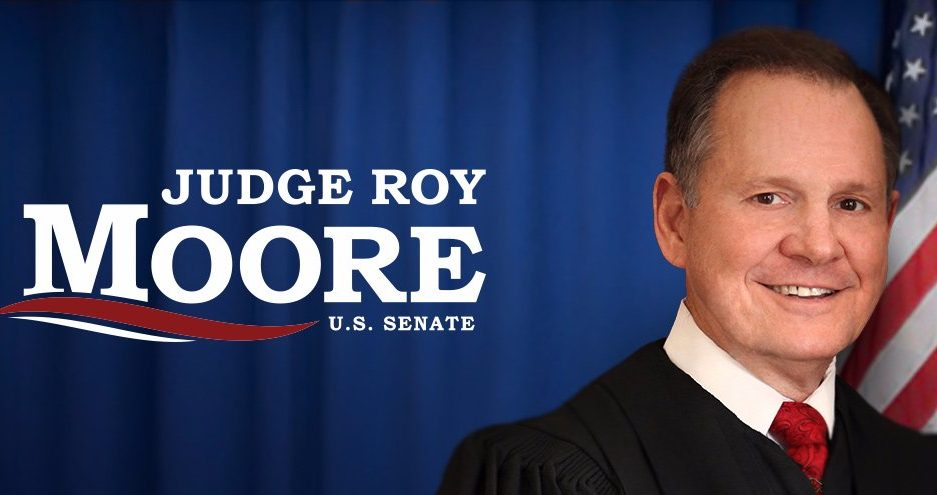 "banner from Roy Moore's Twitter account, showing his photo and the words, ""Judge Roy Moore for U.S. Senate"""