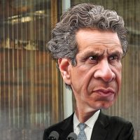 color caricature of New York governor Andrew Cuomo