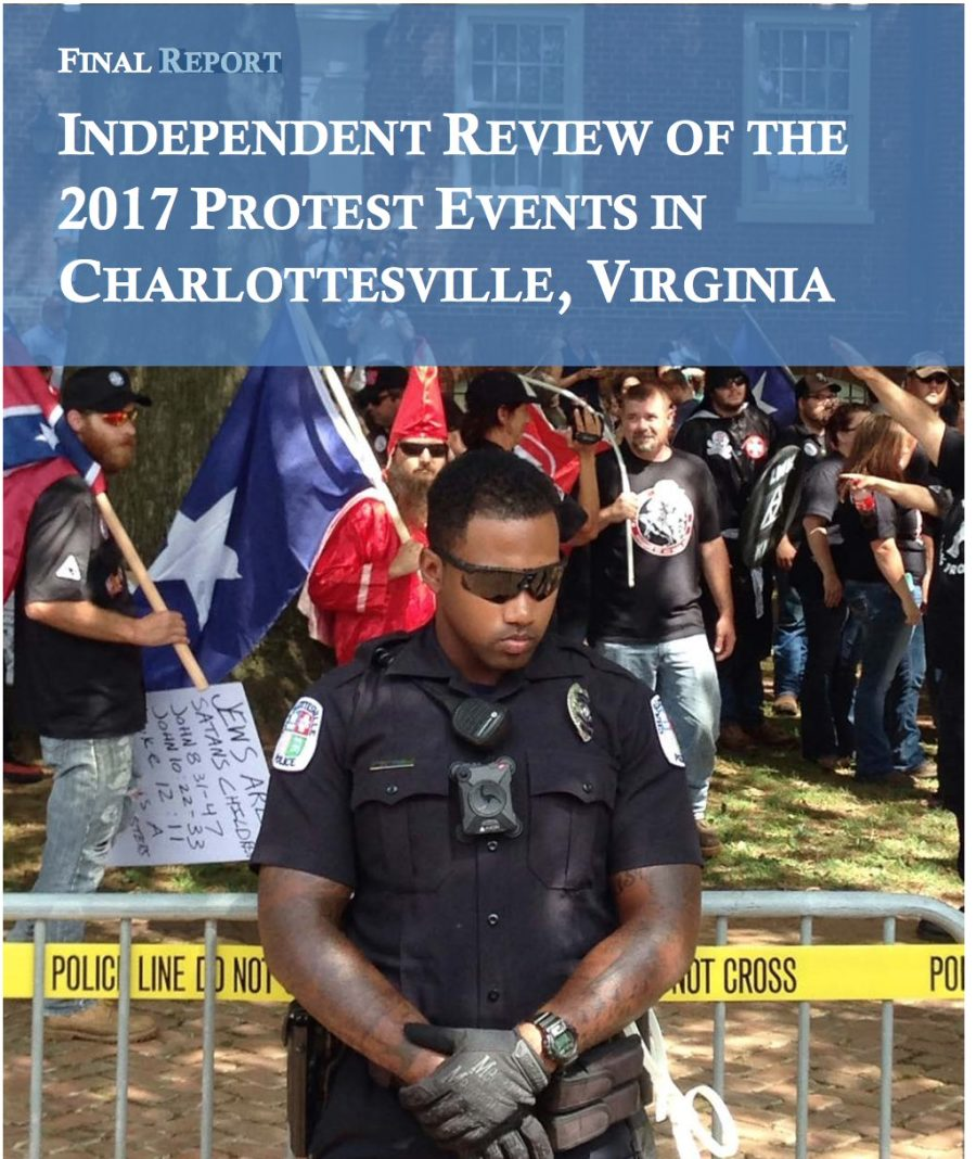 Cover page of the independent report on the 2017 Charlottesville protests, showing an African-American police officer standing in front of a barricade, behind which a crowd of white nationalist demonstrators has gathered