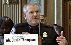 Screenshot of Jason Thompson (in uniform), acting director of the Office of Justice Services, testifying at a September 27 oversight hearing of the Committee on Indian Affairs