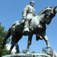 color photo of a statue of Gen. Robert E. Lee astride his horse, Traveler