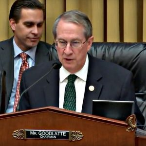 YouTube screenshot of Virginia congressman Bob Goodlatte in suit and tie, presiding over a December 12, 2017, House Judiciary Committee meeting to amend a bill intended to combat sex trafficking