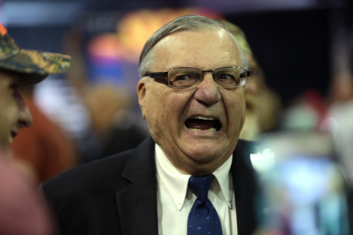 photo of Sheriff Joe Arpaio speaking with supporters at a campaign rally for Donald Trump at the Prescott Valley Event Center in Arizona on October 4, 2016