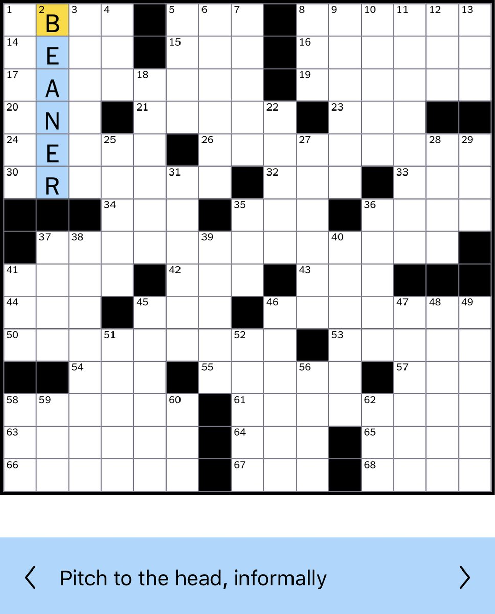 """Screenshot of the online version of the January 1, 2019, New York Times crossword, highlighting """"BEANER"""" as the answer to 2 Down, the provided clue to which was """"Pitch to the head, informally"""""""