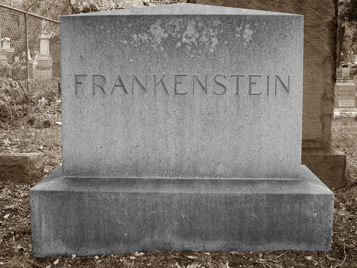"Image of a headstone at a cemetery with the name ""Frankenstein"" on it"