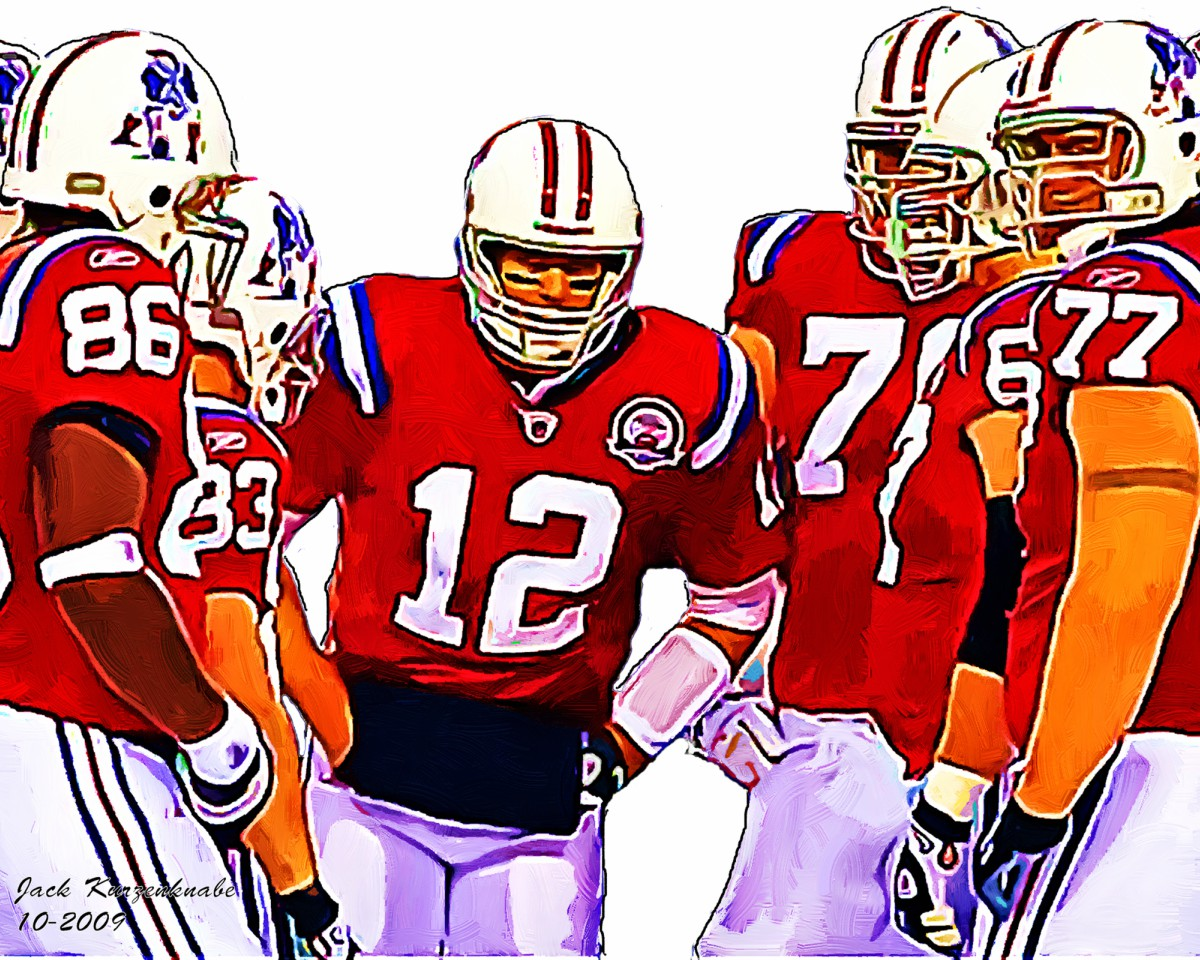 color illustration by Jack Kurzenknabe that depicts New England Patriots players in a huddle