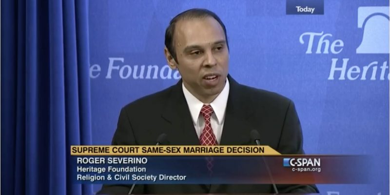 screenshot of Roger Severino speaking at a 2015 C-SPAN panel discussion
