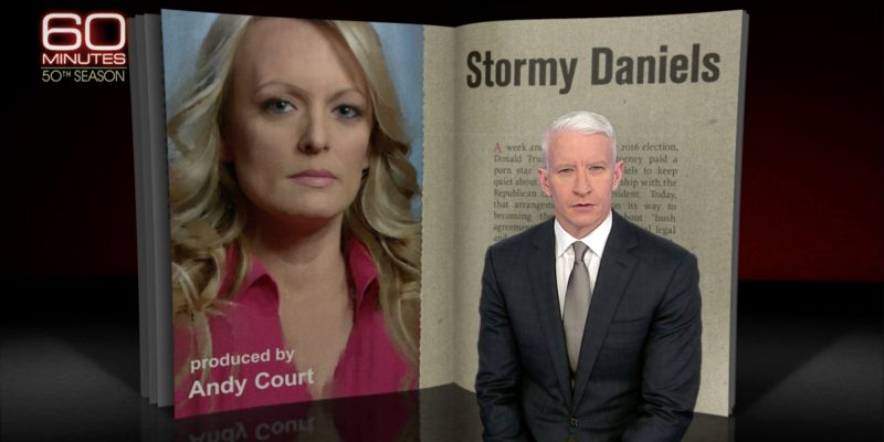 Screenshot of the introduction to Anderson Cooper's 60 Minutes interview with adult-film star Stormy Daniels regarding her alleged sexual dalliance with Donald Trump
