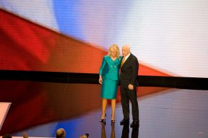 Color photo of John and Cindy McCain on stage, greeting the crowd at the 2008 Republican National Convention in St. Paul, Minnesota
