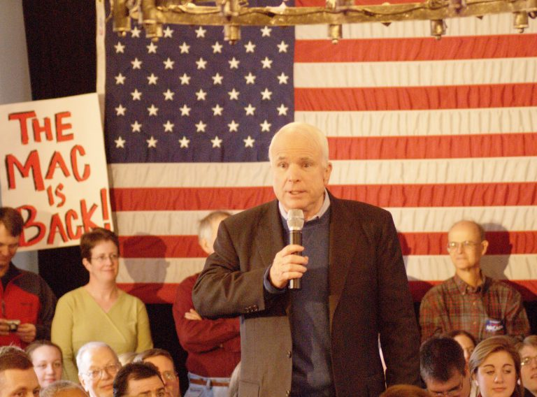 photo of U.S. Sen. John McCain at a VFW hall in Merrimack, New Hampshire, during the runup to the 2008 Republican presidential primary