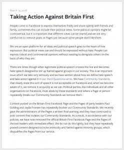 "Screenshot of a March 14, 2018 statement from Facebook regarding its decision to remove the pages of Britain First and the group's leaders from its platform for violating ""Community Standards"""