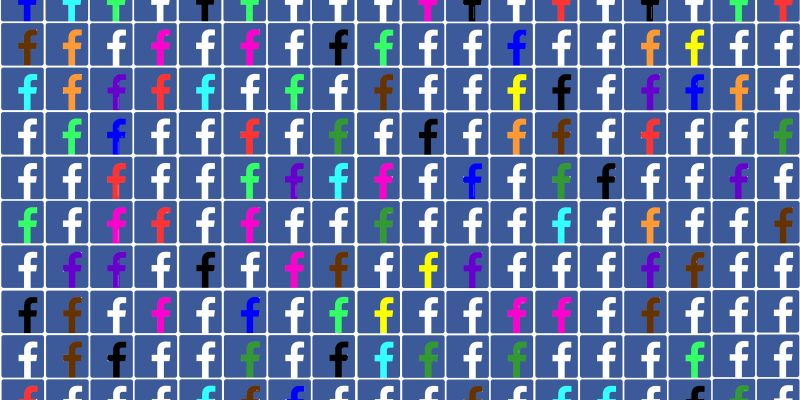 lots of little Facebook f's in lots of randomly distributed colors, arranged in a grid