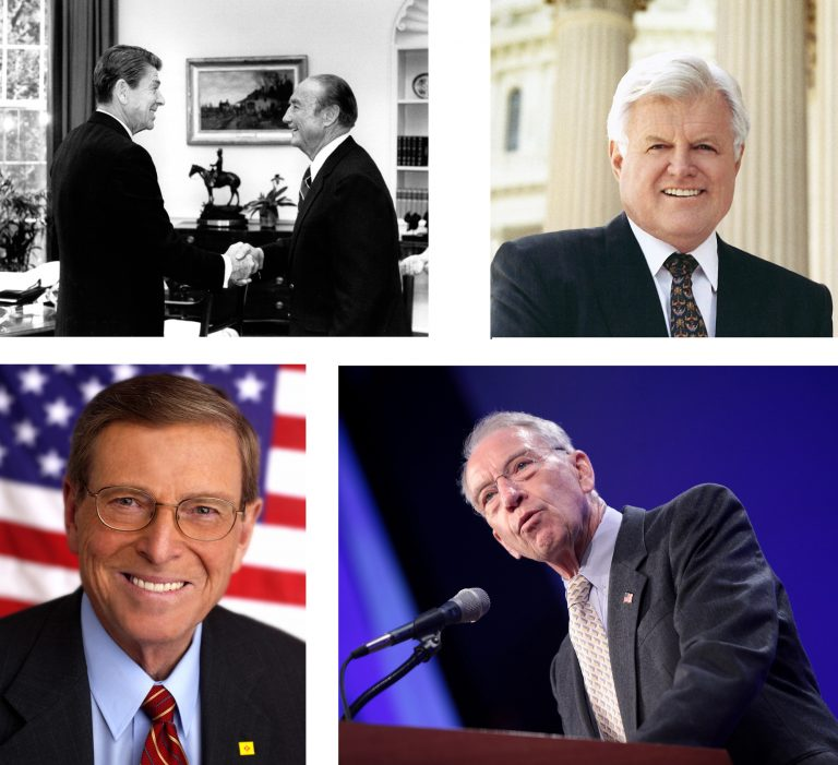 photos of four U.S. senators with whom John McCain (Arizona) tangled over the years: Strom Thurmond (South Carolina), Ted Kennedy (Massachusetts), Pete Domenici (New Mexico), Chuck Grassley (Iowa)