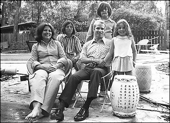 A black-and-white family photo of Carol and John McCain and their children, taken in the 1970s
