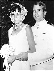 Black-and-white wedding photo of John McCain and Carol Shepp McCain in 1965.