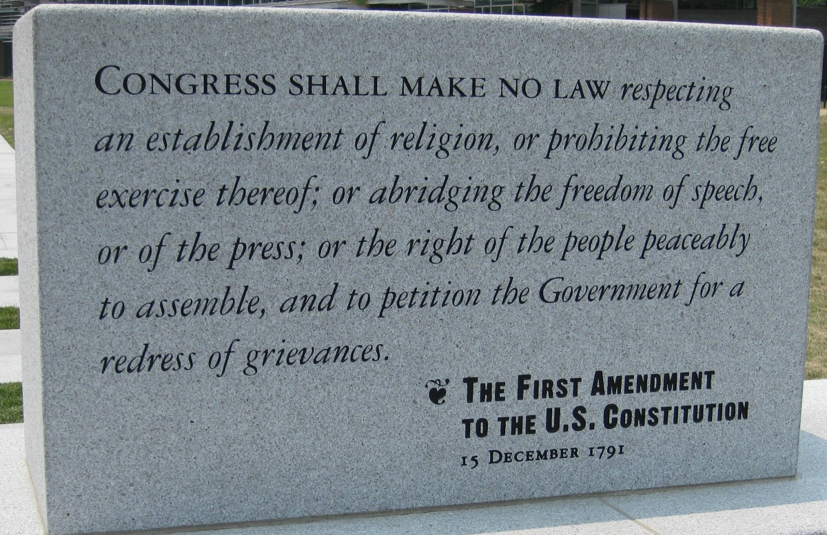 photo of a stone slab engraved with the text of the First Amendment to the U.S. Constitution. The slab is located in Peoples Plaza, on the grounds of the Independence National Historical Park in Philadelphia