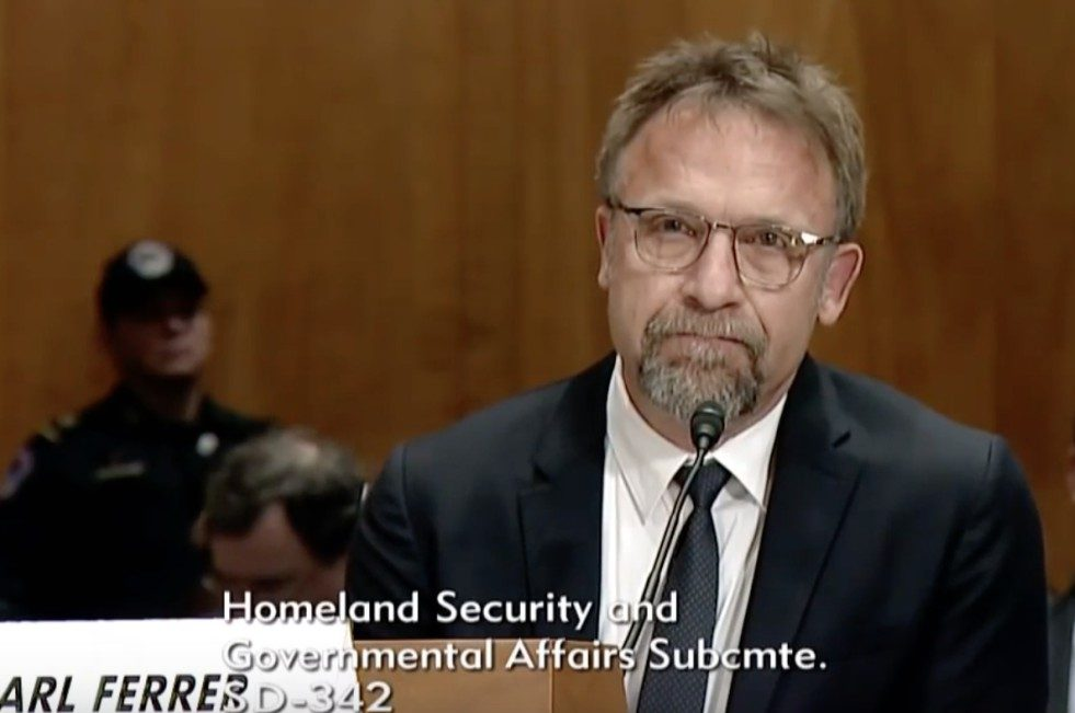 screenshot of Backpage owner and CEO Carl Ferrer, appearing at the U.S. Senate Subcommittee on Investigations' January 2017 hearing into Backpage.com business practices.