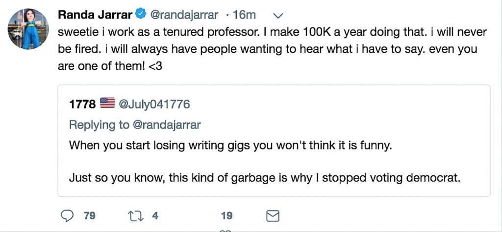 Screenshot of Randa Jarrar Tweet.
