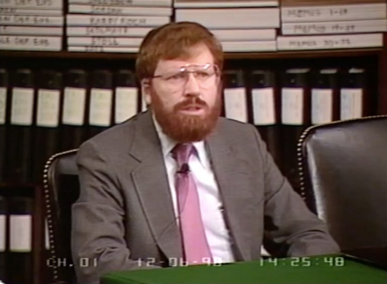 C-SPAN screenshot of William Black testifying before the U.S. Senate Ethics Committee, timestamped December 6, 1990